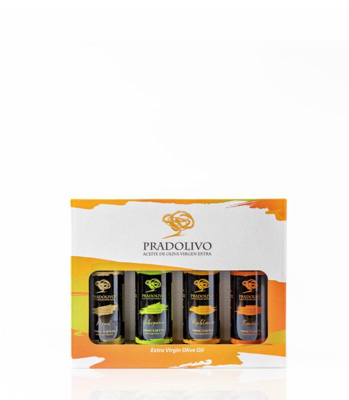 estuche de aceites de pradolivo Picual, Hojiblanca, Arbequina y Frantoio